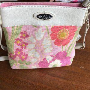 Spartina 449 Crossbody Bag Linen Floral Pink Print